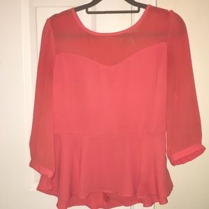 Coral peplum blouse